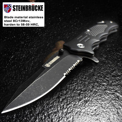 "Bravex 8.2"" TACTICAL SPRING ASSISTED FOLDING KNIFE Blade Pocket open switch US"