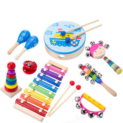 Kids Musical Instruments & Wooden Percussion Toys Rhythm Band Value Present