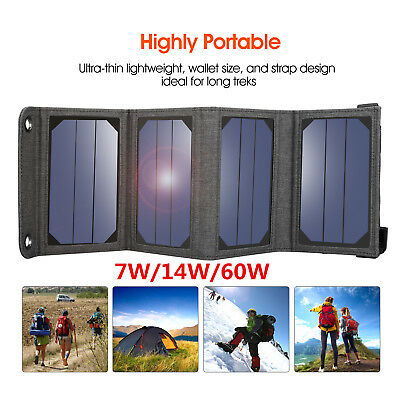 Suaoki 7W/14W/60W Solar Panel Charger Portable for Smartphones / 5V USB Devices