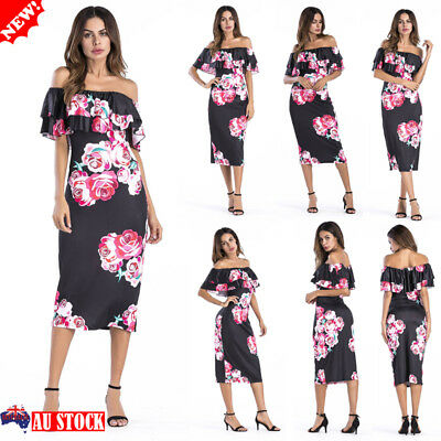 Women Floral Off Shoulder Sundress Ladies Summer Beach Holiday Party Midi Dress