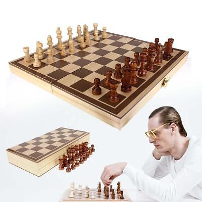 Vintage Wood Pieces Chess Set Folding Board Box Wood Hand Carved Gift Kid Toy