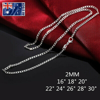 Wholesale 925 Sterling Silver Filled 2mm Classic Curb Chain Necklace For Pendant