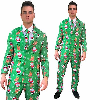 Mens Christmas Suit Santa Reindeer Funny Patterned Fancy Dress Costume 3 Piece