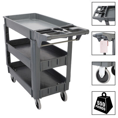 550 LBS Capacity Utility Service Cart 3 Shelves Rolling Tool Cart with Handle