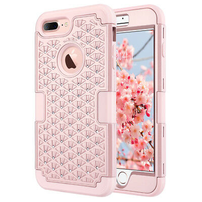 iPhone 8 Plus 7 Plus Case Hybrid Heavy Shockproof Silicone Rubber Defender Cover