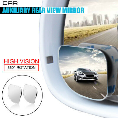 2x Adjustable Car Rearview Blind Spot Rear View Mirror Convex 360° Wide Angle