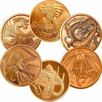 World Of Dragons Series Aztec, Welsh, or Chinese 1 oz .999 Pure Copper BU Round