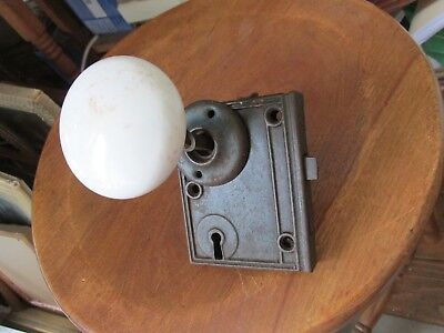 Antique Victorian Rim Lock,White Porcelain Knobs,Pin,Set Screws,& Knob Plate