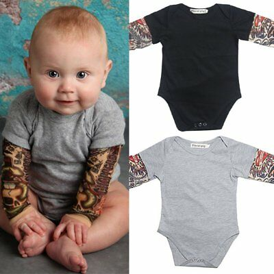 Newborn Fake Tattoo Sleeve Cool Baby Boy Comfy Romper Cotton Infant Jumpsuit
