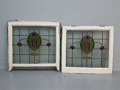 Stained glass windows vintage x 2 in good original condition 74x69 and...