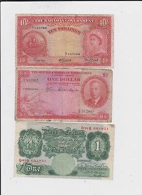 World Paper Money Collection  3 old notes lower grade and up