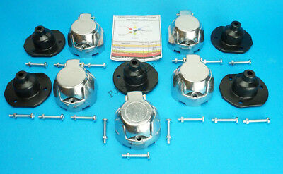5 x Metal Towing Sockets 7 Pin 12N with Gasket Seal & Bolts - Trailer & Horsebox