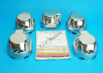 5 x Metal Towing Sockets 7 Pin 12N - Complies ISO 1724 - Trailer & Horsebox
