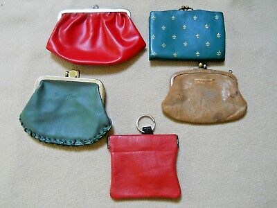 5 Vintage Leather Coin Change Purses