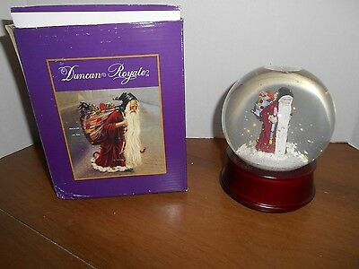 "Duncan Royale Santa Snow Globe Musical plays Silent Night 6"" Tall Holiday"