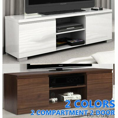 TV Stand High Gloss 2 Compartment 2 Door Entertainment Unit Cabinet Storage OZ