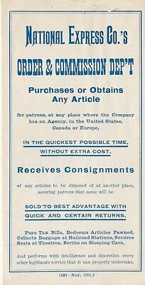1905 National Express Co. Advertisement, Purchasing, Consignments, Money Orders