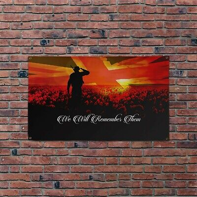 We Will Remember Them Banner Remembrance Day Union Jack Poppy Field 4 Sizes