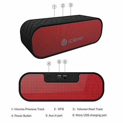 20W Bluetooth Speaker Portable 2 Subwoffer Water Resistant Dual Driver 3.5mm AUX