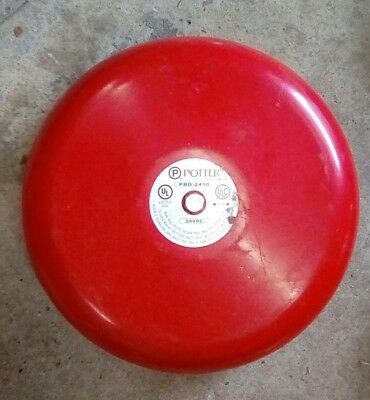 "Potter Electric Signal PBD-2410 10"" Red Bell Fire Alarm 24V"
