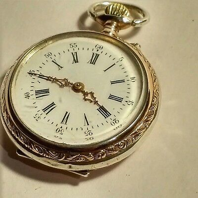 Beautiful Antique  Silver Fob Watch Solid Silver Continental In Very Good Cond