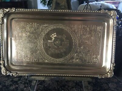 VINTAGE ANTIQUE Egyptian Image Solid Brass Desk Vanity Valet Tray