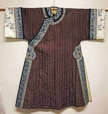Superb Large Old Chinese Silk Winter Robe With Roundels And Embroidered Insects