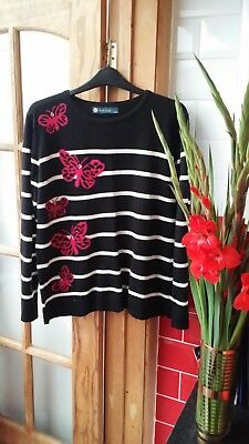 Pretty Ladies AMBER black and pink Long Sleeve Jumper Butterfly Derail UK L /XL