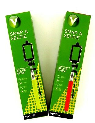 Vivitar Snap A Selfie Smartphone Selfie Sticks Lot of 2 Red and Green 42 Inches