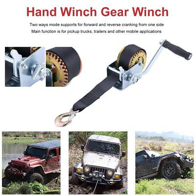 600LBS Hand Winch Synthetic Strap 2 Way Manual Car Boat Trailer 4WD AUS