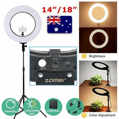 "14""/18"" 5500K Dimmable Diva LED Ring Light Diffuser MIRROR Stand Make Up Studio"
