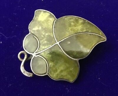 Antique Scottish Írish Connemara Marble Silver Pebble Leaf Brooch Pin Agate