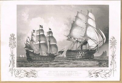 Engraving The Great Harry Man Of War Contrasted With The Prince Albert 1854