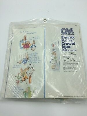 Columbia-Minerva 7848 BEATRIX POTTER Stamped CREWEL Idea Kit Wall Hanging 10x32""