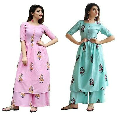 Indian Palazzo with Kurti Dress Palazoo-Kurta Stylish Party Kurta Cotton Dress