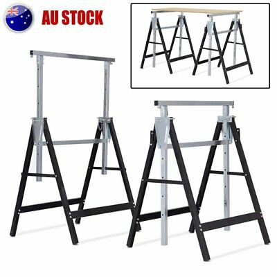 2X Saw Horse Height Adjustable Folding Heavy Duty Trestle Capacity AUS