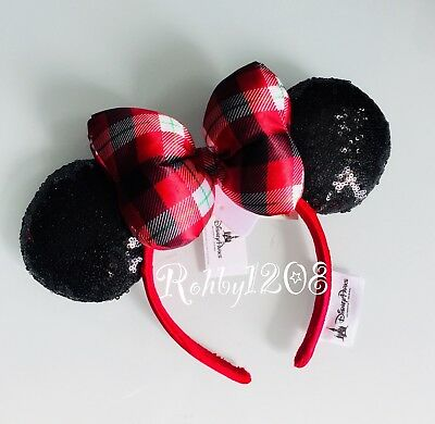 Disney Parks 2018 Christmas Red Plaid Merry & Bright Minnie Ears Headband NWT