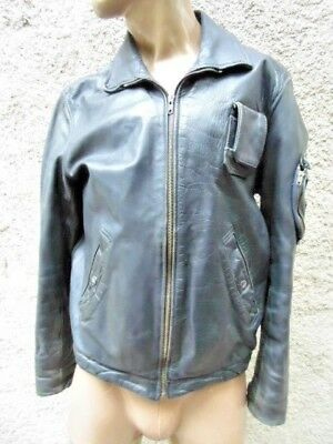 Blouson Pilote Cuir Armee De L'air  / Vintage France Pilot Leather Jacket