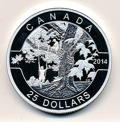 Canada  25 Dollars  2014  Oh Canada Under The Maple Tree -  Proof .999 Silver