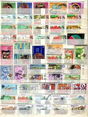 Bahamas 1969 – 1980 ** 51 Used Stamps ** Silver Jubilee ** Silver Wedding