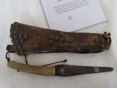 Very Nice Old Tacked Knife Sheath & Knife With Doc--Nr!