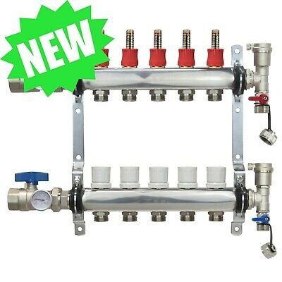 5 Loop/Port Stainless Steel PEX Manifold Radiant Heating w/ connectors - PEX GUY