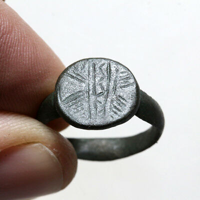 Intact Late Byzantine Bronze Decorated Ring Ca 1200-1300 Ad