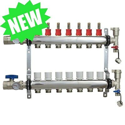 7 Loop/Port Stainless Steel PEX Manifold Radiant Heating w/ connectors - PEX GUY