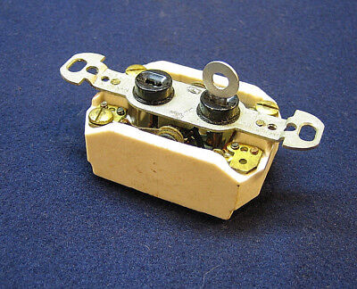 NOS Antique Electrical Push Button 3-Way Wall Light Switch Lock Keyed - AH&H