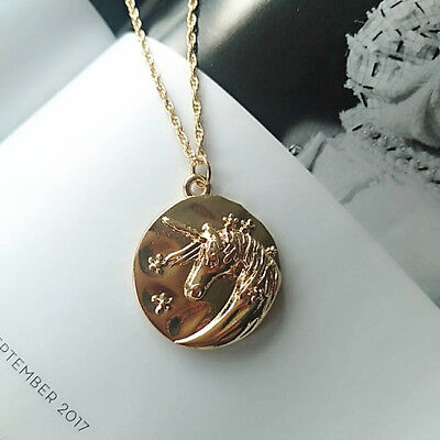 Women Unicorn Necklace Horse Pendant Clavicle Choker Charm Jewelry Gift D