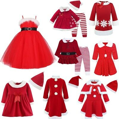 Kids Santa Christmas Dress Hat Outfit Baby Girls Xmas Party Fancy Costume Clothe