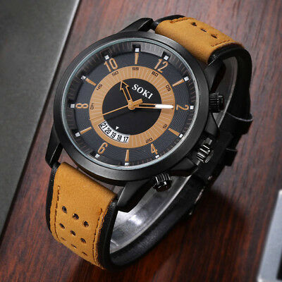 US Fast -Luxury Fashion Silica Gel Leather Mens Glass Quartz Analog Date Watches