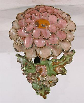1920s LULU LaVELLE CAST IRON FIGURAL ZINNIA FLOWER DOOR KNOCKER - ORIGINAL PAINT