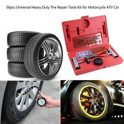 56pcs Universal Heavy Duty Tire Repair Tools Kit for Motorcycle ATV Car Trucks